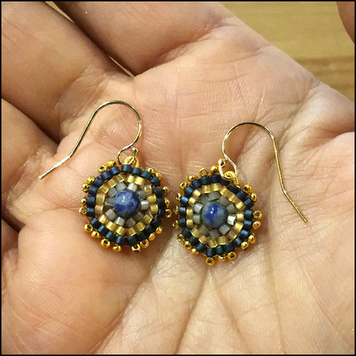 "Bespoke Lapis and Gold Earrings ""Vivian"" , Earrings - No Roses Metro, No Roses Jewelry Artisan Jewelry Los Angeles - 1"