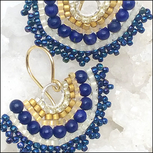 norosesjewelry.com - Los Angeles - Fan Earrings, Lapis and Gold