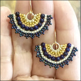 Fan Earrings, Lapis and Gold