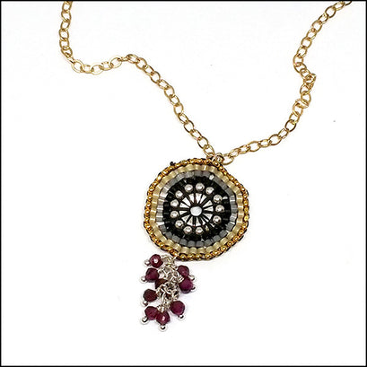 Eyeful of Garnet Necklace , necklace - No Roses Metro, No Roses Jewelry Artisan Jewelry Los Angeles - 1