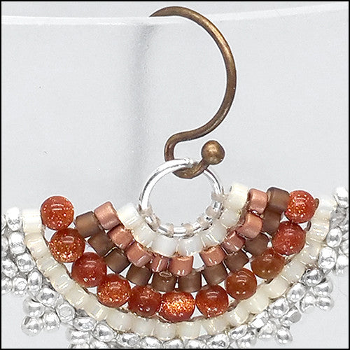 norosesjewelry.com - Los Angeles - Fan Earrings, Sunstone Brown