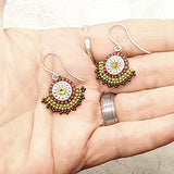 Gemstone Fan Earrings Beaujolais