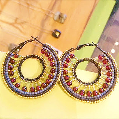 norosesjewelry.com - Los Angeles - Mandala Royal Hoops with Garnet