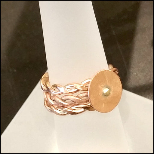 Triple Twist Disc Copper Ring , rings - No Roses Ore, No Roses Jewelry Artisan Jewelry Los Angeles