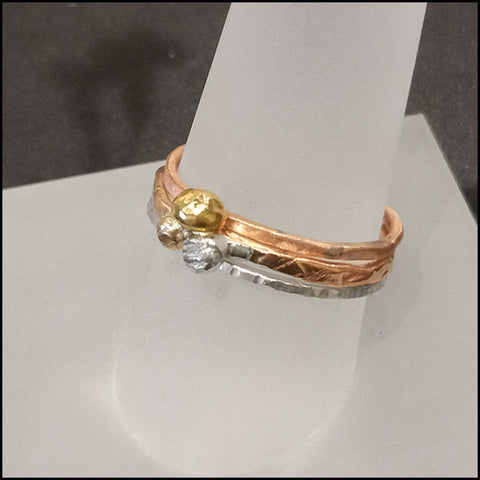 Three Stack 18k Gold Ring , rings - No Roses Ore, No Roses Jewelry Artisan Jewelry Los Angeles