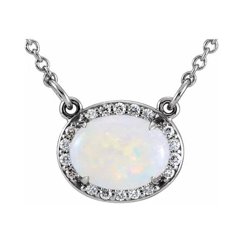 norosesjewelry.com - Los Angeles - 14k Gold, Opal and Diamond Necklace
