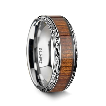 norosesjewelry.com - Los Angeles - Koa Wood and Titanium All Genders Band Ring