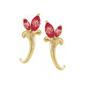 norosesjewelry.com - Los Angeles - Ruby Floral J-Hoop Earrings
