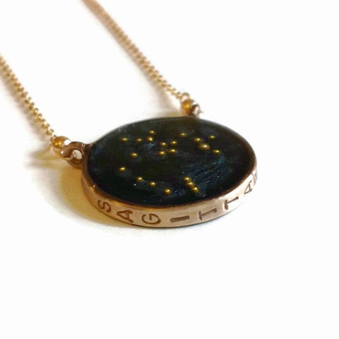 norosesjewelry.com - Los Angeles - Sagittarius Zodiac Necklace Night Sky Pendant in Gold or Silver