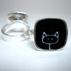 norosesjewelry.com - Los Angeles - Black Kitty Ring - Sterling Silver and Enamel