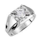 Men's Illusion Ring Sterling Silver - Mounting Only