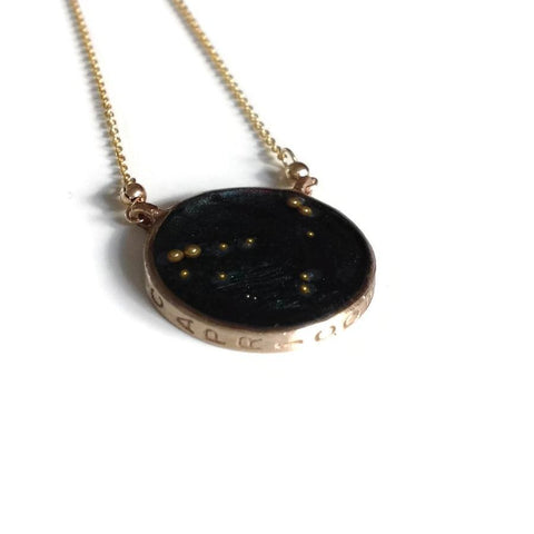norosesjewelry.com - Los Angeles - Capricorn Zodiac Necklace Night Sky Pendant in Gold or Silver