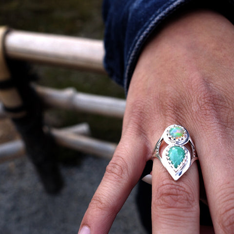 norosesjewelry.com - Los Angeles - Custom Engagement Ring Jadeite and Opal