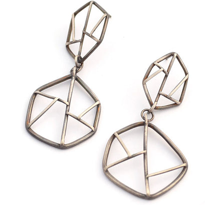 norosesjewelry.com - Los Angeles - Geometric Sterling Silver Double Dangle Earrings