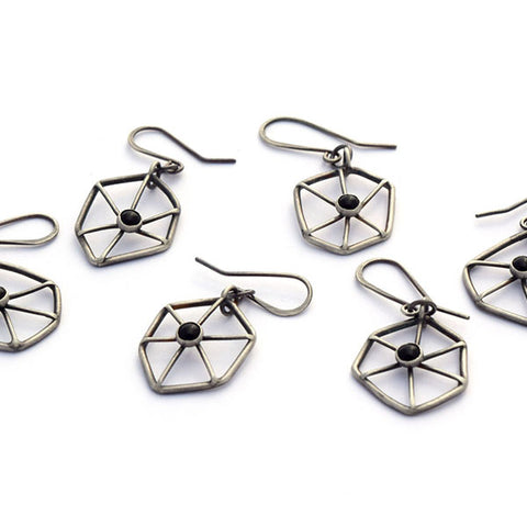 norosesjewelry.com - Los Angeles - Blackened Sterling Web Earrings with Black Onyx