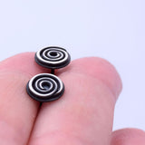 Spiral Seaside Stud Earrings Blackened Sterling Silver
