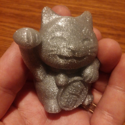 The Lucky Cat, 3D Printed in Glitter Flake PLA
