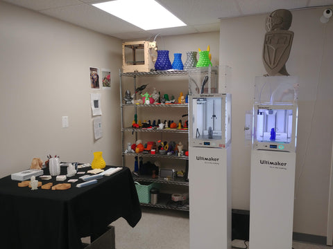 Ultimaker 3, Ultimaker 2, and Demo 3D Print Wall