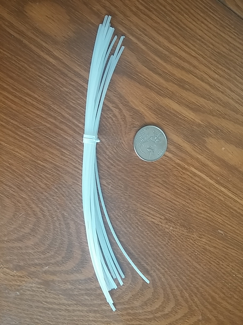 "A pack of approximately 6"" long extruder cleanout filament."