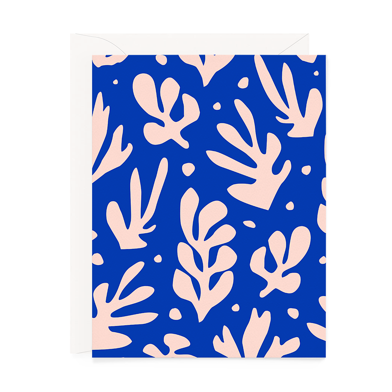 Abstract Blue & Blush Floral Greeting Card