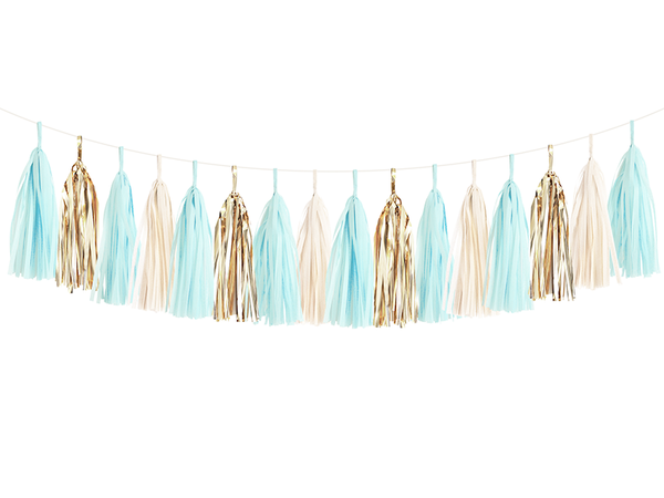 Baby Blue & Gold Tassel Garland Kit