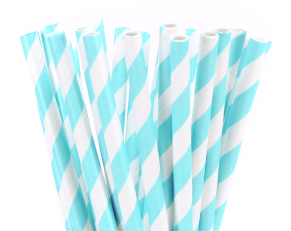 Light Blue Stripe Paper Straws