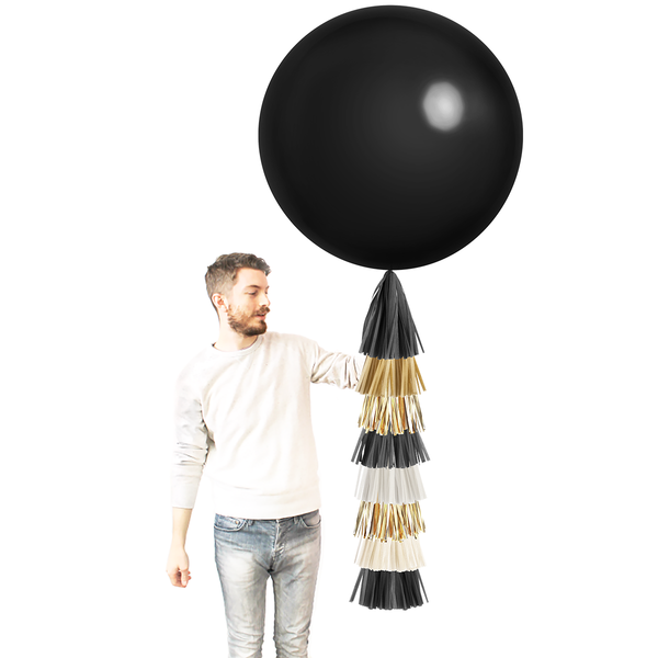 Balloon with Tassels - Black, White, and Gold