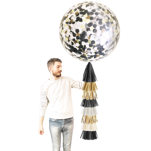 Confetti Balloon with Tassels - Black, White, and Gold