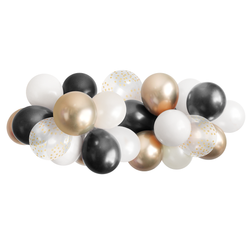 Balloon Garland - Black, White, and Gold