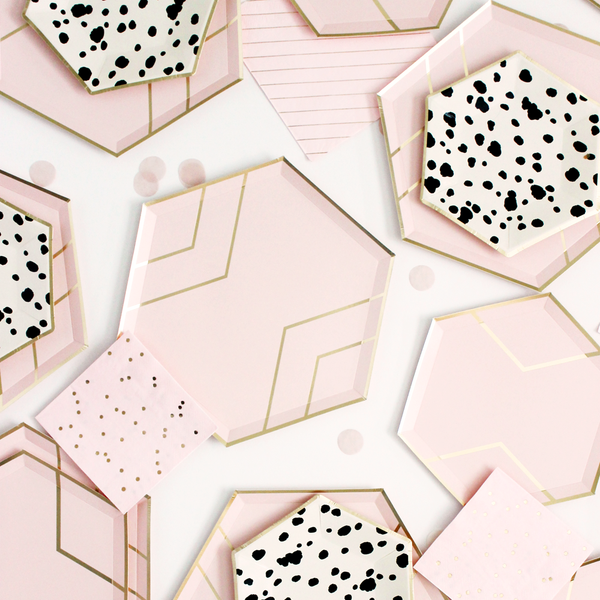 Blush Pink & Gold Hexagon Paper Plates - Large