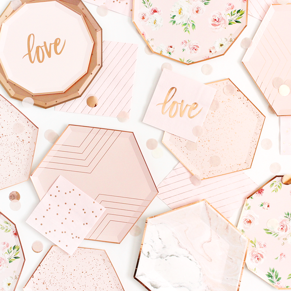Blush & Rose Gold Drip Paper Plates - Small