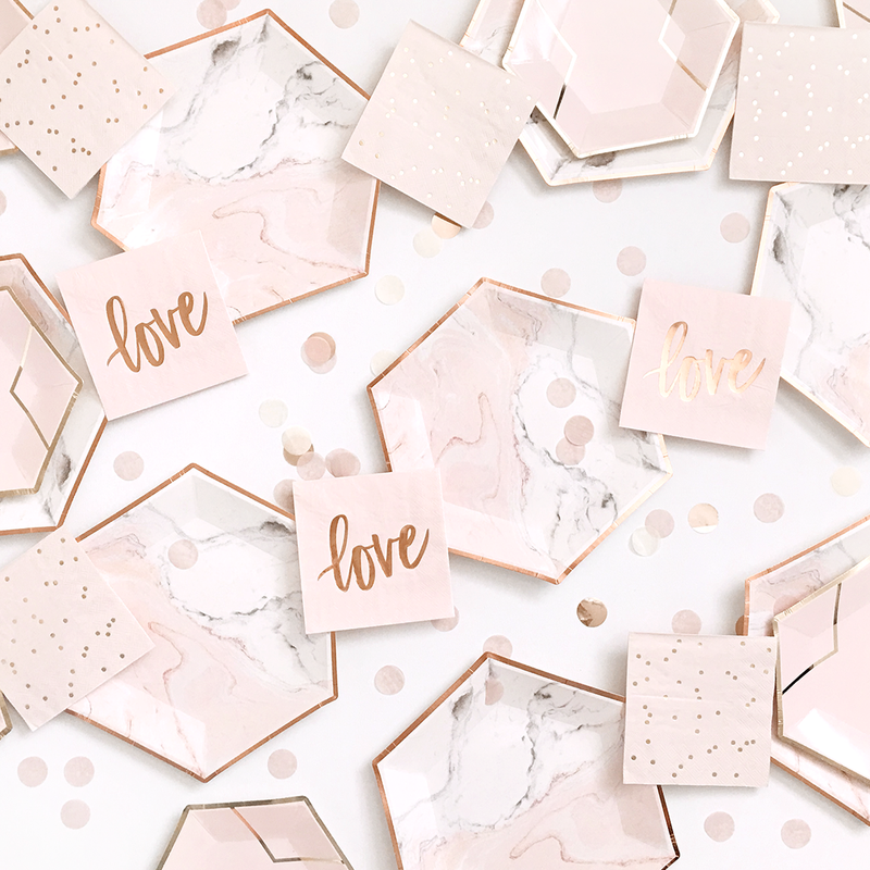 Rose Gold & Blush Love Napkins