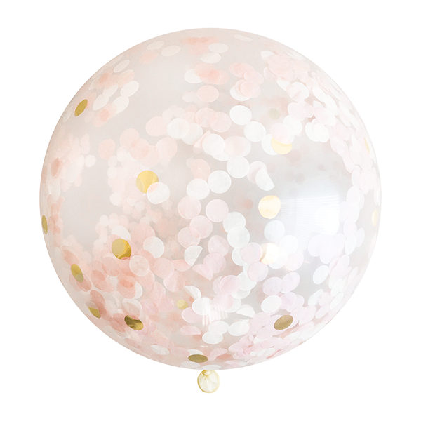 Blush Pink & Gold Confetti Balloon