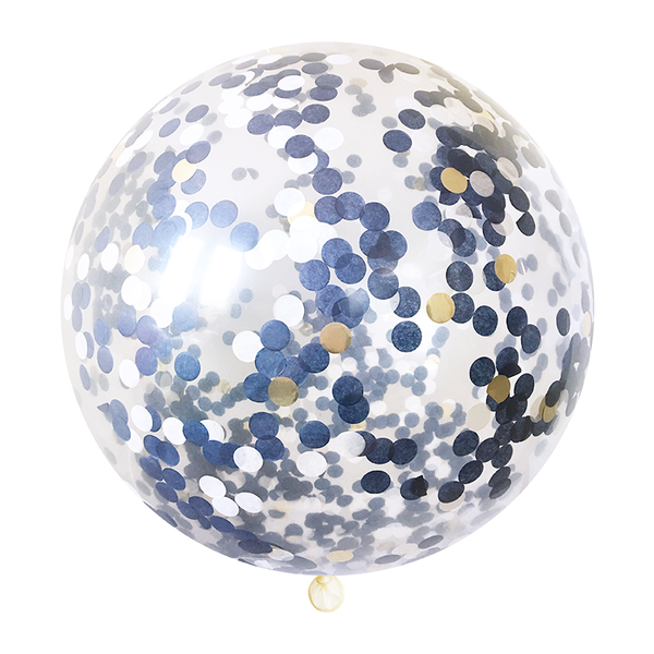Navy & Gold Confetti Balloon