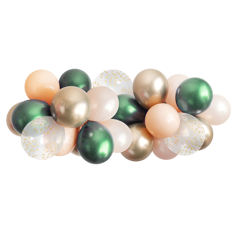 Balloon Garland - Emerald Green, Blush & Gold