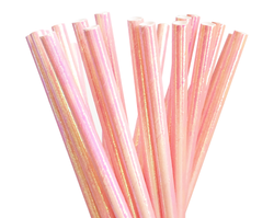 Paper Straws - Pink Iridescent Foil
