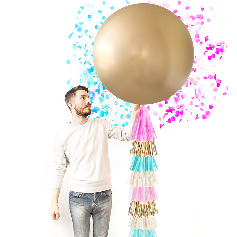 Gold Gender Reveal Balloon with Tassels - Paperboy