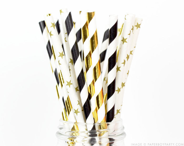 New Years Paper Straws - Black Tie