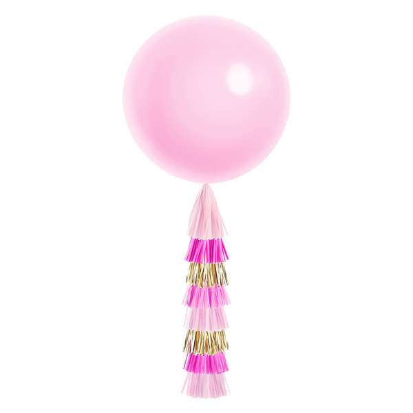 Giant Balloon with Tassels - Pink & Gold