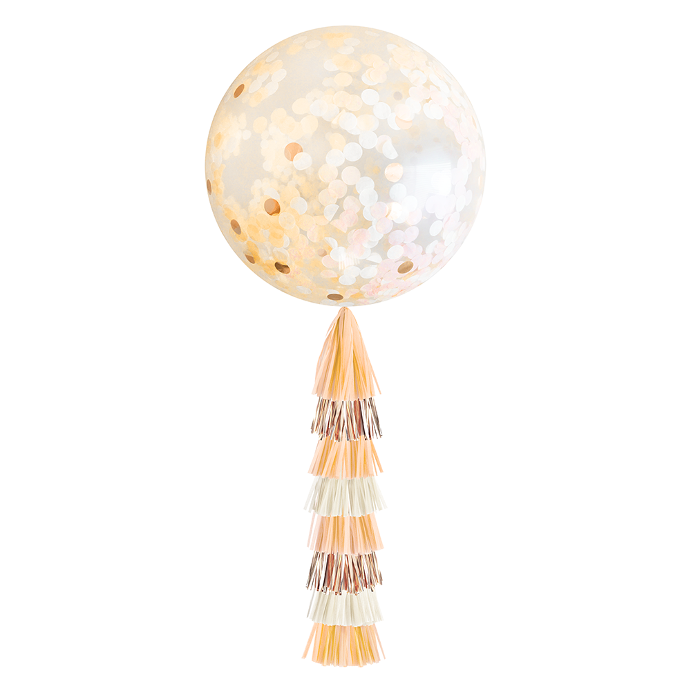 Confetti Balloon with Tassels - Peach & Rose Gold