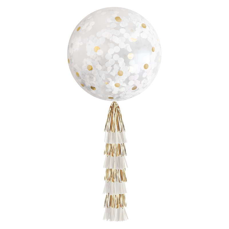 Confetti Balloon with Tassels - White & Gold