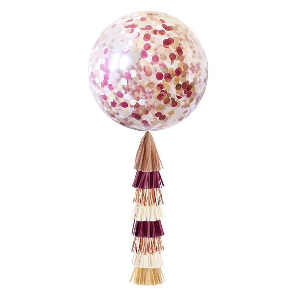 Confetti Balloon with Tassels - Burgundy & Rose Gold