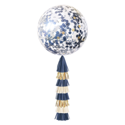 Confetti Balloon with Tassels - Navy & Gold