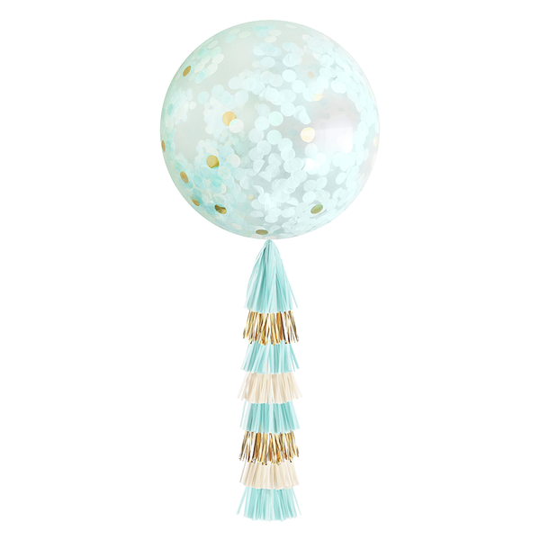 Confetti Balloon with Tassels - Light Blue & Gold