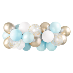 Balloon Garland - Light Blue and Gold