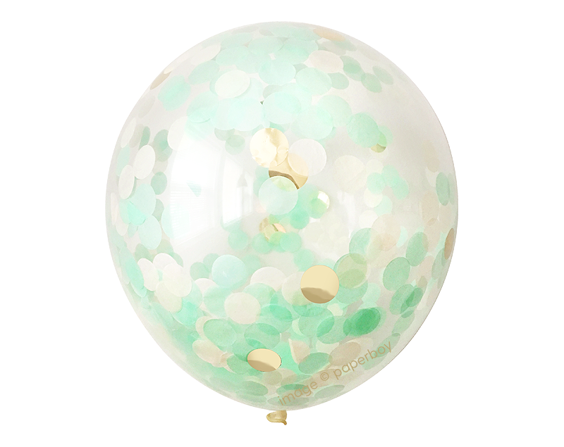 Mint & Gold Confetti Balloon