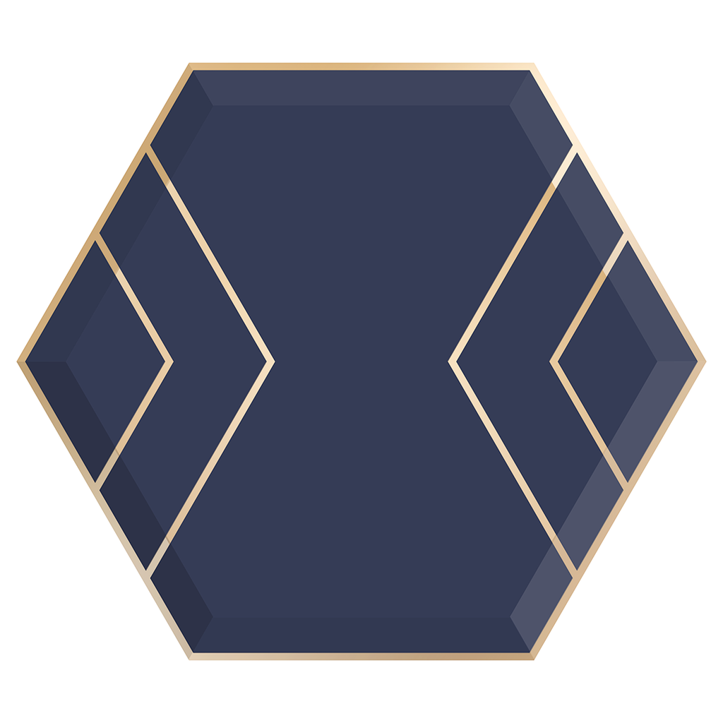 Navy & Gold Hexagon Paper Plates - Large