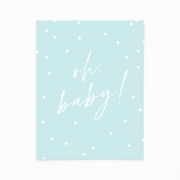 """Oh Baby!"" Blue Greeting Card"