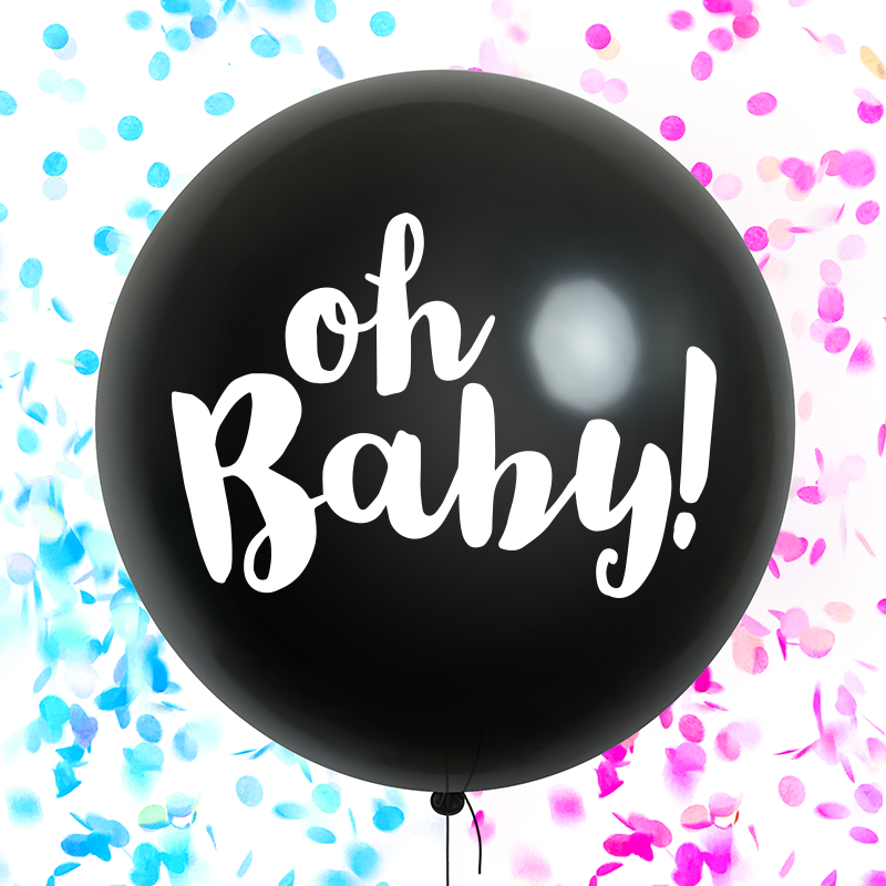 Gender Reveal Balloon - Oh Baby! Black with Pink and Blue Confetti - Paperboy