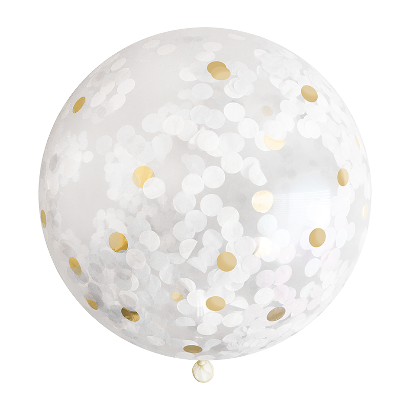 White & Gold Confetti Balloon